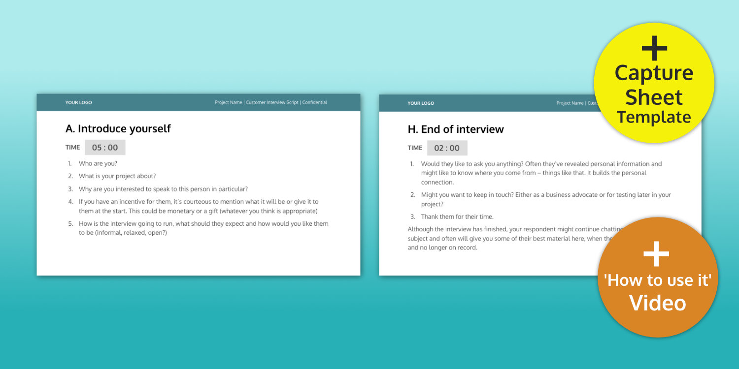promotional video script template - customer interview script template ux design templates