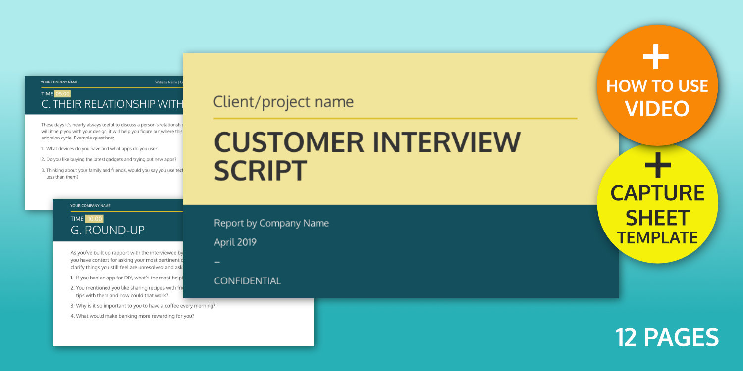Customer interview script template graphic