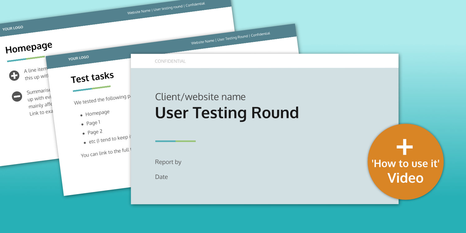 User testing report template graphic